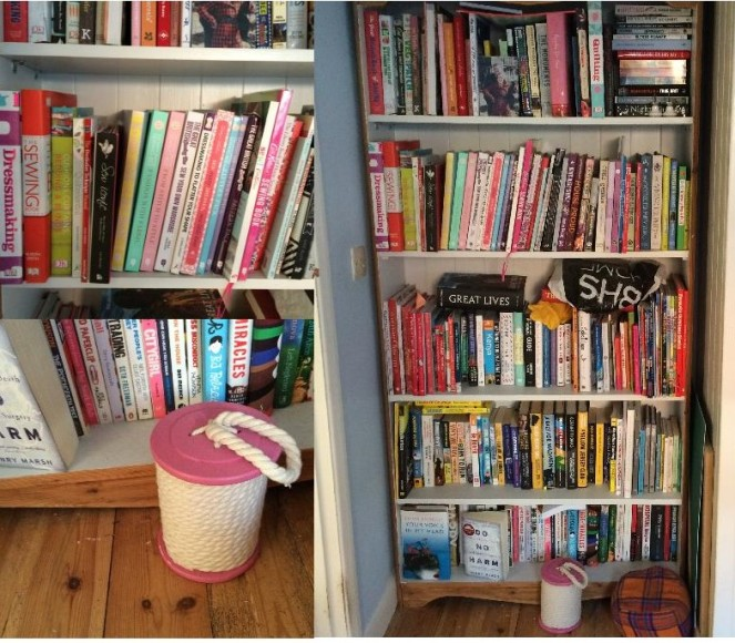 My bookshelf. I love books, and being all organised my bookshelf is ordered by theme and sub-theme (like my on mini library). I also have this fab door stopper in the shape of a cotton reel.