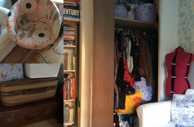 My built in wardrobe (which my Dad built) full of clothes I barely wear plus all my scraps stored in boxes. My Ikea chair has been a staple of all my sewing, it might not go with the decor but I love it, and a stash of vintage suitcases which store all my fabric stash,